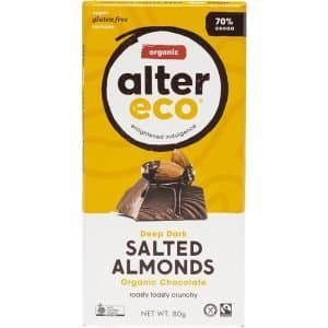 Alter Eco Organic Chocolate Deep Dark Salted Almonds 80g Dairy Free Store