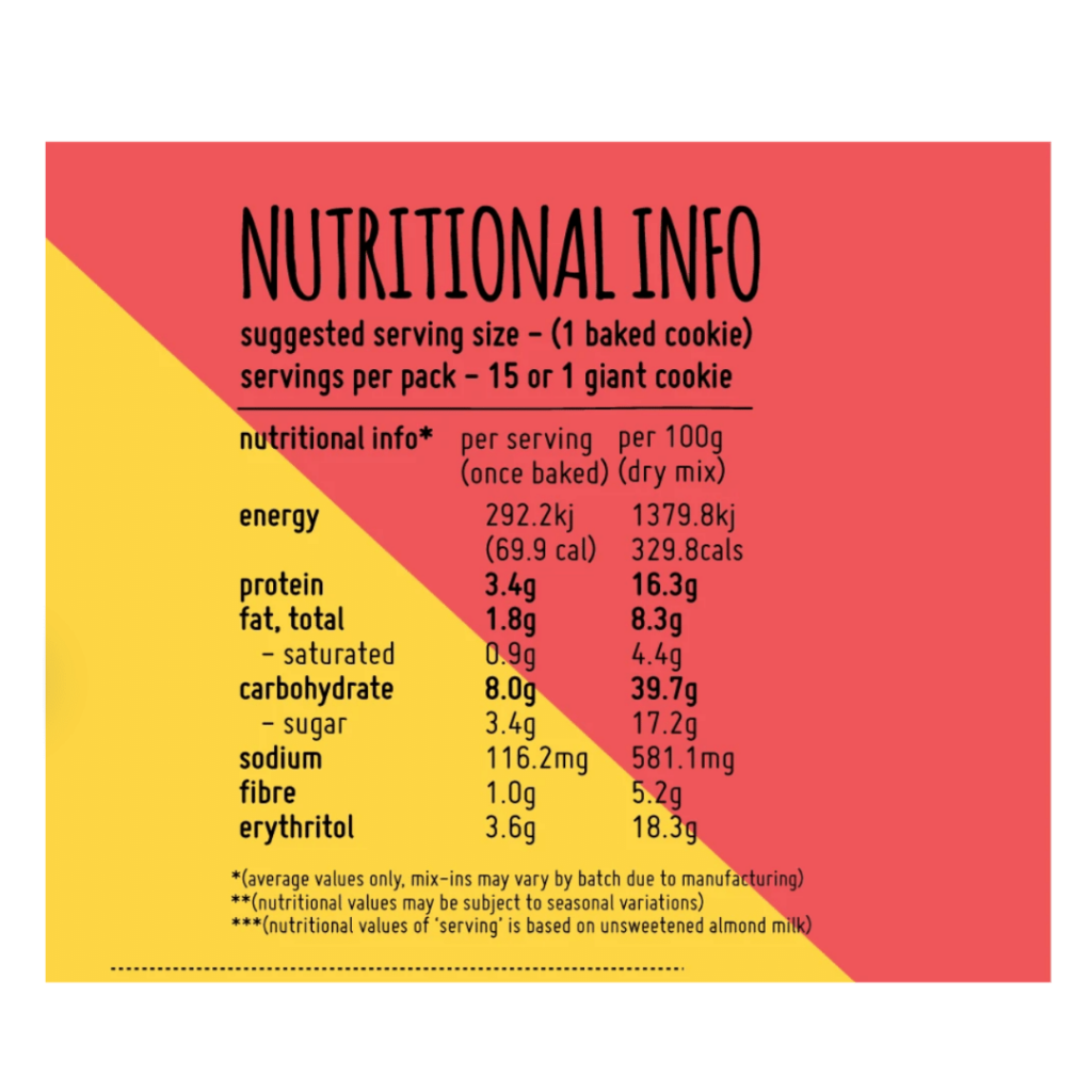 Triple Chunk Cookies Nutritional Info Dairy Free Store